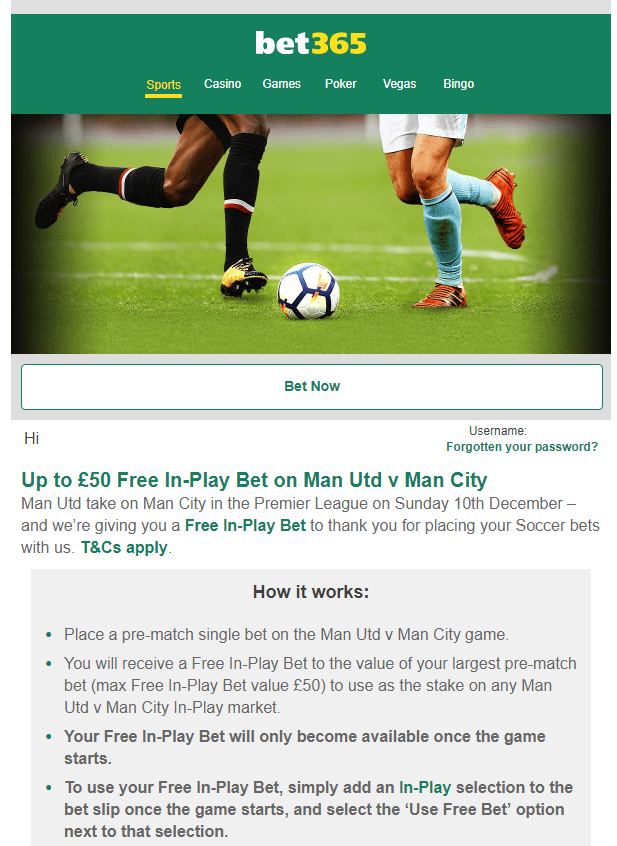 Bet 365 Email Offer