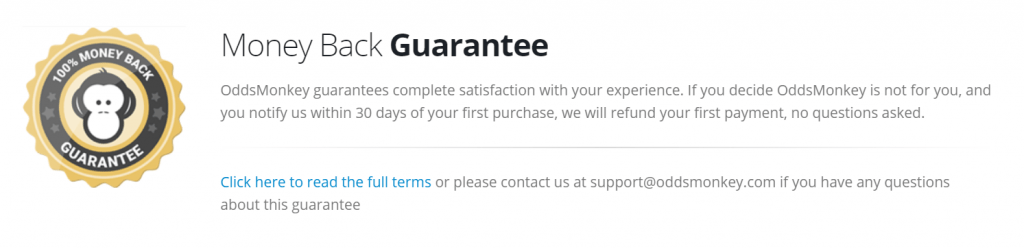 Oddsmonkey review - Money back guarantee